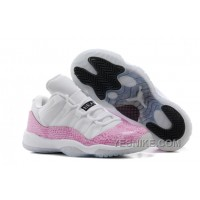 "Big Discount! 66% OFF! Girls Air Jordan 11 Retro Low ""Pink Snakeskin"" White/Cherry Pink-Black For Sale A5YQE"