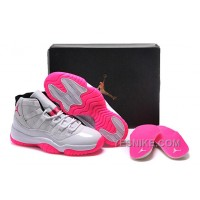 Big Discount! 66% OFF! 2016 Girls Air Jordan 11 White Pink Shoes For Sale Online