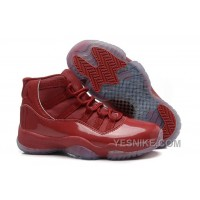 Big Discount! 66% OFF! Girls Air Jordan 11 Red-Brown Leather Shoes For Sale
