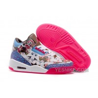 Big Discount! 66% OFF! 2016 Girls Air Jordan 3 School Season Brown Blue Pink Shoes