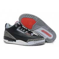 "Big Discount! 66% OFF! Air Jordans 3 Retro ""Black Cement"" Black/Varsity Red-Cement Grey"