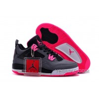 Big Discount! 66% OFF! 2016 Girls Air Jordan 4 Black Grey Hyper Pink For Sale