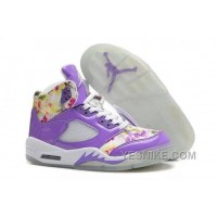 Big Discount! 66% OFF! Girls Air Jordan 5 Purple Cherry Blossom For Sale