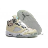 Big Discount! 66% OFF! Girls Air Jordan 5 Beige Cherry Blossom For Sale