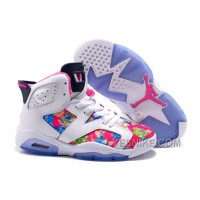 """Big Discount! 66% OFF! 2016 Girls Air Jordan 6 """"Floral Print"""" White Pink Shoes For Sale"""
