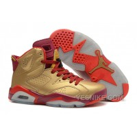 Big Discount! 66% OFF! Air Jordans 6 Retro Metal Gold/Deep Red-Varsity Red For Sale