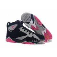 "Big Discount! 66% OFF! Girls Air Jordan 7 ""Fuchsia Flash"" Black/Sport Fuchsia Pink-Grey"