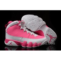 Big Discount! 66% OFF! Girls Air Jordan 9 Pink White Shoes For Sale
