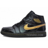 Big Discount! 66% OFF! Air Jordan 1 I Retro Noir Metallic Or Cuir Verni