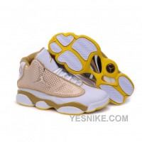 Big Discount! 66% OFF! Air Jordan Retro 13s Shoes White Gold Yellow