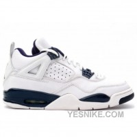 Big Discount! 66% OFF! Air Jordan Retro 4 White Blue Midnight Navy 136030-141