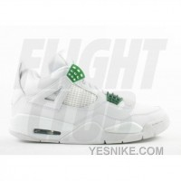 Big Discount! 66% OFF! Air Jordan Retro 4 White Chrome Classic Green 308497-101