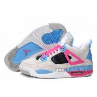 Big Discount! 66% OFF! Air Jordan IV Femme Basket Velours Blanc/Rose/Bleu