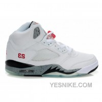Big Discount! 66% OFF! Air Jordan 5 (V) White Cement Black True Red