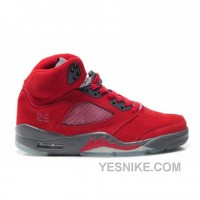 Big Discount! 66% OFF! Air Jordan 5 Retro Raging Bull Red Suede Varsity Red Black 136027-601