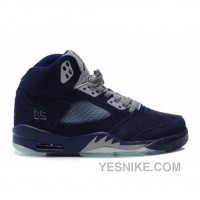 Big Discount! 66% OFF! Air Jordan 5(V) Fluff Navy Blue Grey White