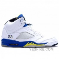 Big Discount! 66% OFF! Air Jordan Retro 5 Laney High School White Royal Maize 136045-141