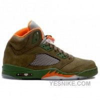 Big Discount! 66% OFF! Air Jordan Retro 5 Olive Orange Flight Satin 314259-381