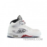 Big Discount! 66% OFF! Authentic 824371-101 Air Jordan 5 Retro Supreme White Fire Red-Black (Men Women) DTdKY