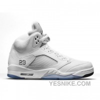 Big Discount! 66% OFF! Authentic 136027-130 Air Jordan 5 Retro White/Metallic Silver-Black (Men Women) X7iZ6