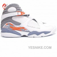 Big Discount! 66% OFF! Air Jordan 8 Retro White Orange Blaze Silver Stealth 305381-102