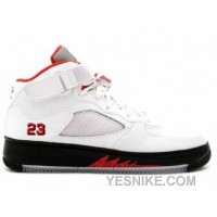 Big Discount! 66% OFF! Air Jordan AJF 5 White Varsity Red Black 318608-161