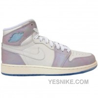 Big Discount! 66% OFF! Air Jordan 1 GS White Hightops Light Purple 332148-101 For Sale