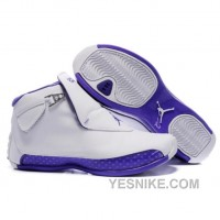 Big Discount! 66% OFF! Air Jordan 18 Original OG White Women Purple 305869-163