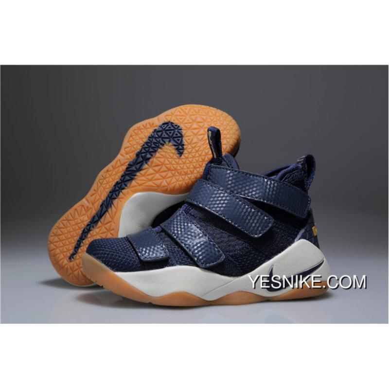 reputable site ff30c 693fc Kids Nike Lebron Soldier 11 Navy Blue 2018 For Sale