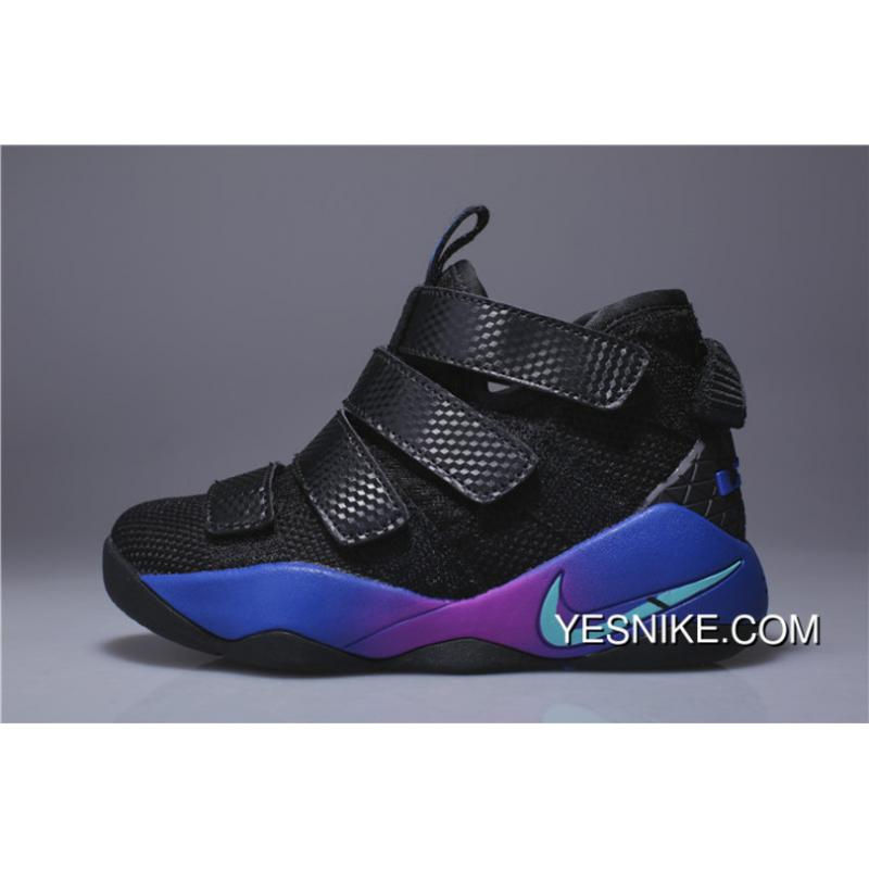 the best attitude 9f99a 3a939 Kids Nike Lebron Soldier 11 Black Blue Purple 2018 Online