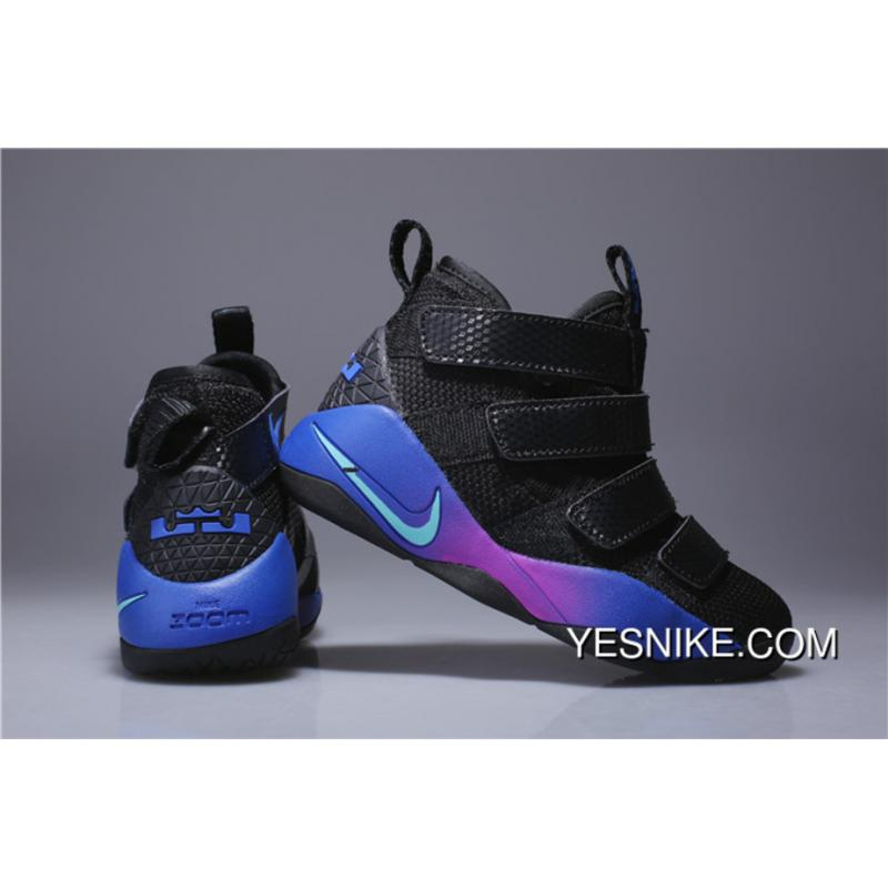 the best attitude fde1e 07ba0 Kids Nike Lebron Soldier 11 Black Blue Purple 2018 Online