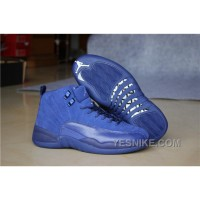 Big Discount! 66% OFF! Men Basketball Shoes Air Jordan 12 Blue Suede 277 2manJ