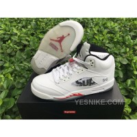 Big Discount! 66% OFF! Men Basketball Shoes Supreme X Air Jordan V White AAAA 286