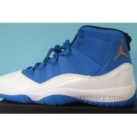 Big Discount! 66% OFF! Air Jordan 11 Retro Blue White Gold For Sale