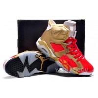 "Big Discount! 66% OFF! Air Jordan 6 VI ""Niners Nation"" Customs Metallic Gold-Varsity Red White"