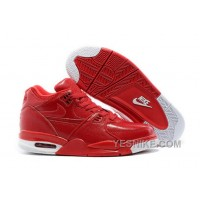 Big Discount ! 66% OFF! Nike Air Flight '89 Red Leather Basketball Shoes For Sale 311580