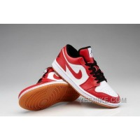 Big Discount! 66% OFF! Sale Nike Air Jordan I 1 Retro Mens Shoes Low Red White AhX8z