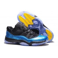 Big Discount! 66% OFF! Denmark Nike Air Jordan Xi 11 Retro Mens Shoes Snake Skin Blue Black Yellow KAjix