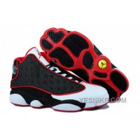 Big Discount! 66% OFF! Nike Air Jordan 13 Mens Grain Leather Black White Red Shoes PRxaG