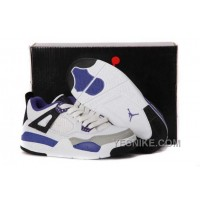 Big Discount! 66% OFF! Nike Air Jordan 4 Kids Black White Grey Shoes JXFbb