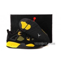 Big Discount! 66% OFF! Nike Air Jordan 4 Kids Black Yellow Shoes RnTbW