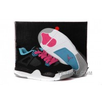 Big Discount! 66% OFF! Nike Air Jordan 4 Kids Dynamic Blue White Black Pink Shoes FADhw