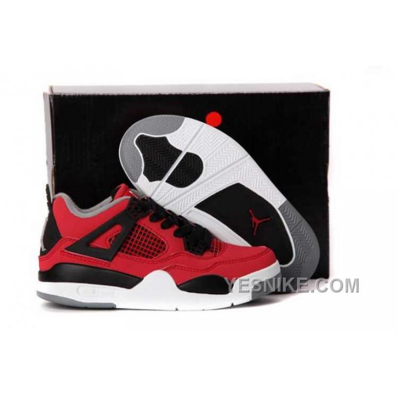 finest selection 520e3 8c0a4 Big Discount! 66% OFF! Nike Air Jordan 4 Kids Fire Red White Black Grey  Shoes BZXmf