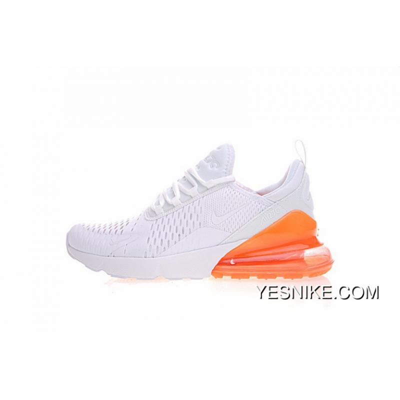 low priced a6215 87ec2 2018 SS Men Shoes Nike Air Max 270 Series Heel Half-palm As Jogging Shoes  All White Orange Yellow Bottom AH8050-11817 Size Online
