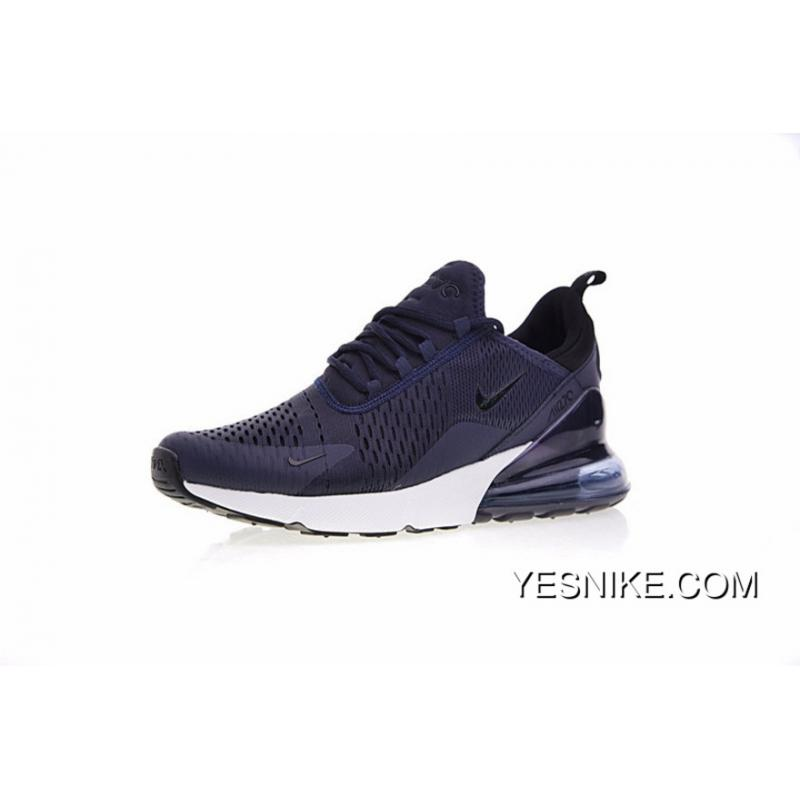 timeless design 64ebf b33b2 For Sale Men Shoes Nike 2018 SS Air Max 270 Series Heel Half-palm Cushion  Jogging Shoes Navy Blue White AH8050-410