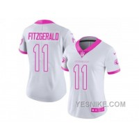 Big Discount! 66% OFF! Women's Nike Arizona Cardinals #11 Larry Fitzgerald White Pink Stitched NFL Limited Rush Fashion Jersey