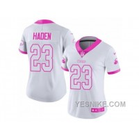 Big Discount ! 66% OFF ! Women's Nike Cleveland Browns #23 Joe Haden White Pink Stitched NFL Limited Rush Fashion Jersey