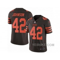 Big Discount ! 66% OFF ! Men's Nike Cleveland Browns #42 Malcolm Johnson Limited Brown Rush NFL Jersey