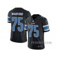 Big Discount ! 66% OFF ! Men's Nike Detroit Lions #75 Larry Warford Limited Black Rush NFL Jersey