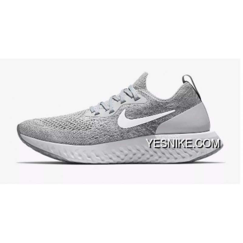 36e94f876cab1 Cold Grey White Nike Rhea Woven FLYKNIT Running Shoes Technology Foam Epic  React FLYKNIT AQ0070- ...